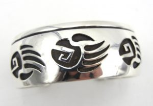 Navajo sterling silver overlay bear paw cuff bracelet by Rosco Scott