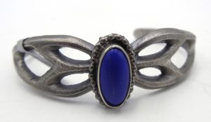 Navajo lapis and sandcast sterling silver cuff braacelet