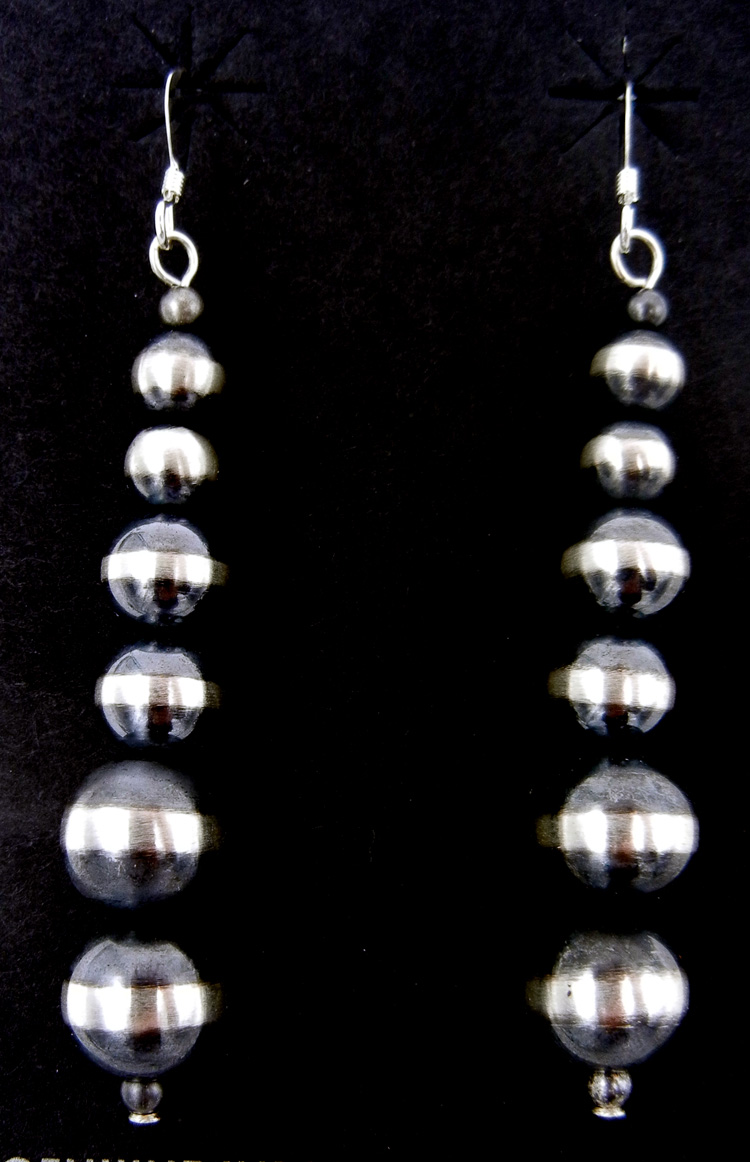 "Navajo brushed sterling silver ""Navajo Pearl"" earrings"