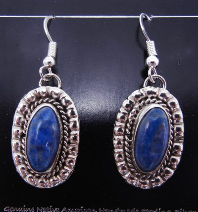 Navajo denim lapis and sterling silver dangle earrings by Priscilla Smith