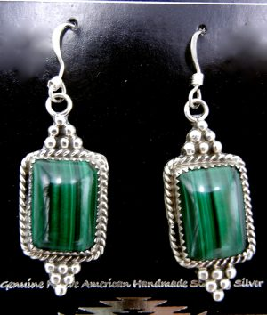 Navajo malachite and sterling silver dangle earrings
