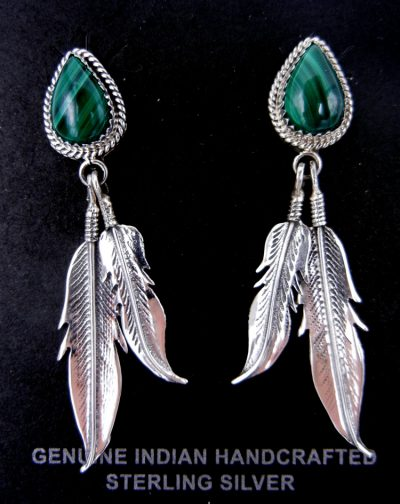Navajo malachite and sterling silver double feather dangle earrings