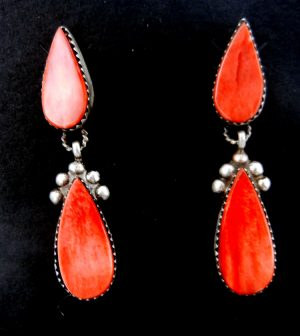 Navajo red spiny oyster shell and sterling silver dangle earrings