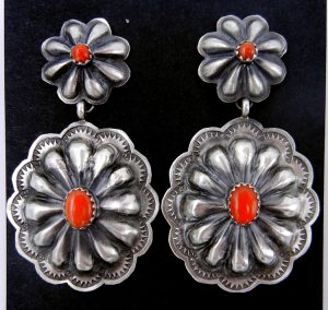 Navajo brushed sterling silver and coral concho style dangle earrings by Rita Lee