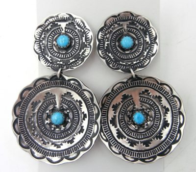 "Navajo brushed sterling silver and turquoise ""bakset"" dangle earrings by Leander Tahe"