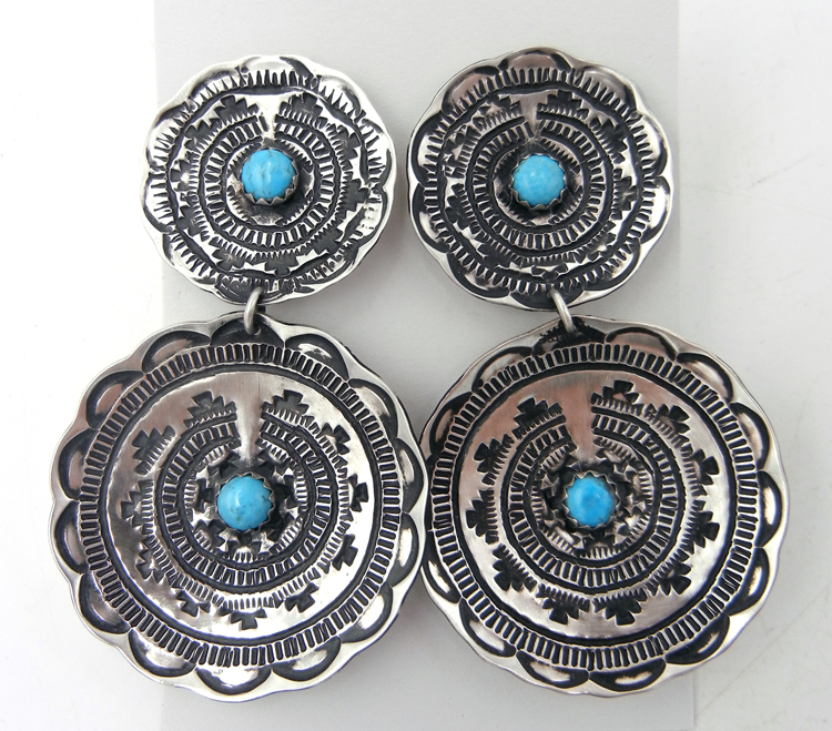 """Navajo brushed sterling silver and turquoise """"bakset"""" dangle earrings by Leander Tahe"""
