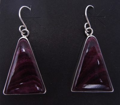 Navajo purple spiny oyster shell and sterling silver dangle earrings