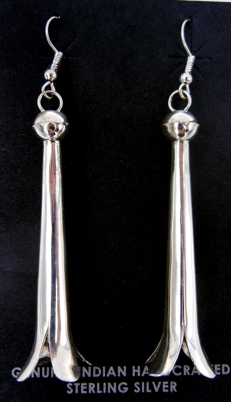 Navajo sterling silver squash blossom earrings by Doris Smallcanyon