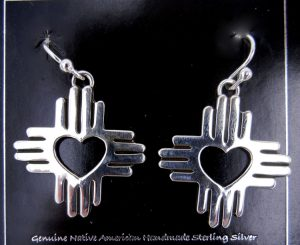 Navajo sterling silver Zia symbol earrings with heart