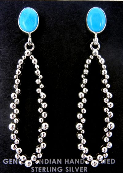 Navajo turquoise and sterling silver applique dot dangle Million Dollar Drop earrings
