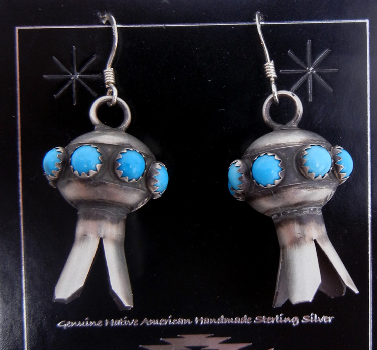Navajo turquoise and brushed sterling silver squash blossom earrings by Monica Smith
