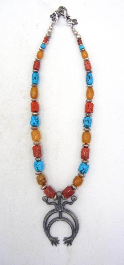 Navajo natural turquoise, coral, amber, and sterling silver naja necklace