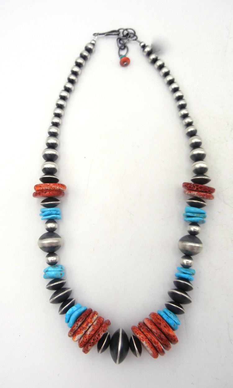 Navajo turquoise, red spiny oyster shell, and sterling silver (Navajo pearl) bead necklace