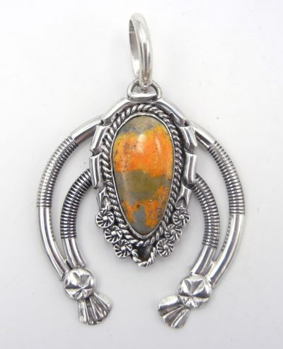 Navajo bumblebee jasper and sterling silver naja pendant by Robert Yellowhorse