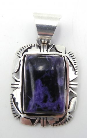 Navajo charoite and sterling silver pendant by Eddie Secatero