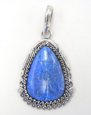 Navajo large denim lapis and sterling silver pendant by Robert Yellowhorse