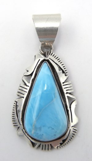 Navajo larimar and sterling silver pendant by Eddie Secatero