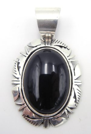 Navajo onyx and sterling silver pendant by Eddie Secatero