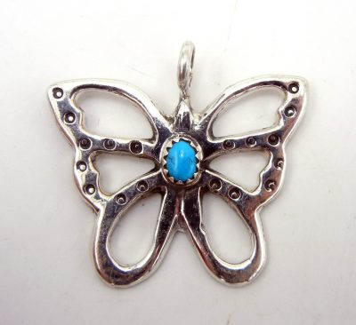 Navajo sterling silver and turquoise butterfly pendant