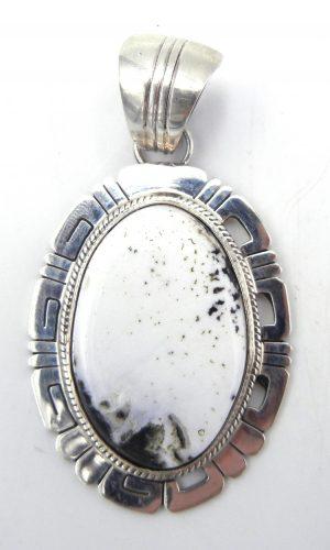Navajo White Buffalo and sterling silver pendant