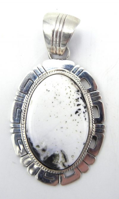 Navajo White Buffalo and sterling silver pendant