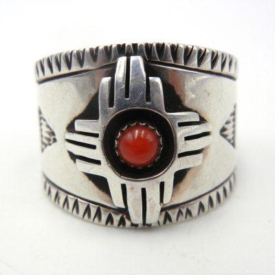 Navajo coral and sterling silver zia symbol ring by Robert Yellowhorse