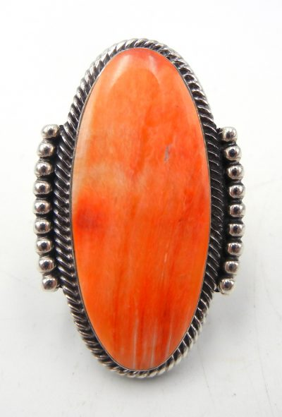 Navajo orange spiny oyster and sterling silver ring by Will Denetdale