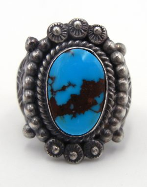 Navajo turquoise and brushed sterling silver ring by Will Denetdale