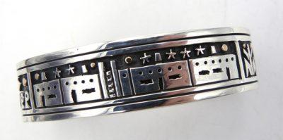 Santo Domingo sterling silver overlay and 14K gold cuff bracelet by Joseph Coriz