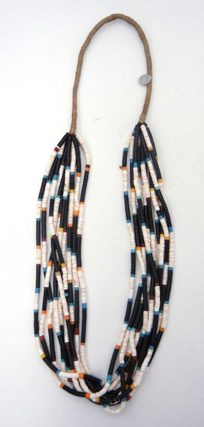 Santo Domingo 10 strand multi-stone and bead heishi necklace by Mary Coriz