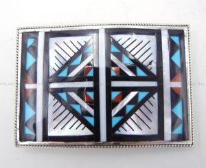 Zuni multi-stone inlay and sterling silver geometric pattern belt buckle