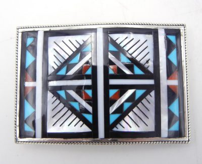 Zuni multi-stone inlay and sterling silver geometric pattern belt buckle