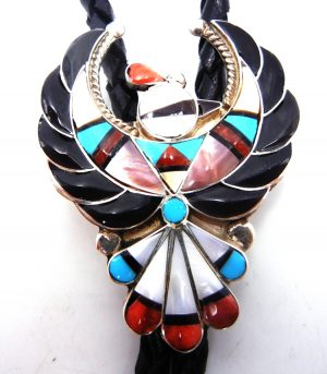 Zuni multi-stone inlay and sterling silver thunderbird bolo tie