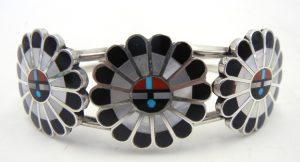 Zuni multi-stone inlay and sterling silver triple sunface cuff bracelet b y April Unkestine
