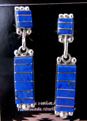 Zuni lapis and sterling silver inlay dangle earrings