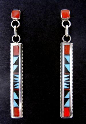 Zuni multi-stone and sterling silver inlay dangle earrings