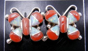 Zuni coral, lab opal, and sterling silver inlay butterfly earrings