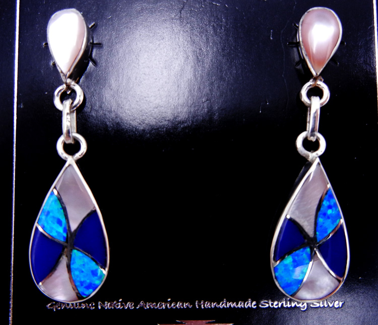 Zuni pink mussel shell, blue lab opal, lapis and sterling silver inlay dangle earrings by Orlinda Natewa