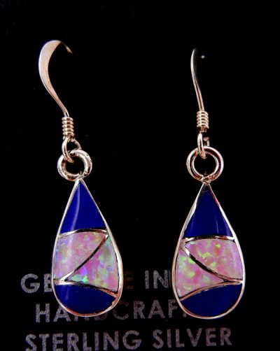 Zuni lapis, lab opal, and sterling silver inlay earrings by Orlinda Natewa