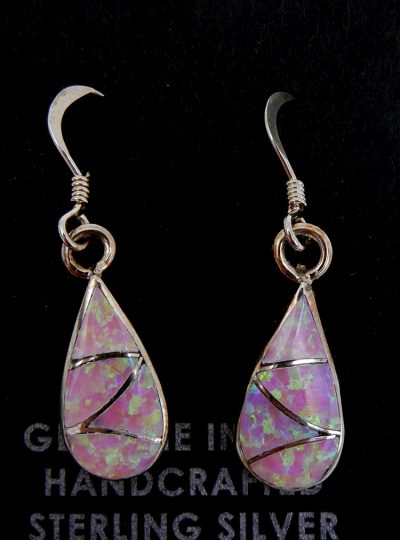 Zuni small pink lab opal and sterling silver inlay earrings by Orlinda Natewa