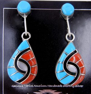 Zuni mutli-stone inlay and sterling silver hummingbird pattern dangle earrings by Amy Quandelacy