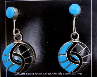 Zuni turquoise, jet, and sterling silver inlay hummingbird pattern earrings by Amy Quandelacy