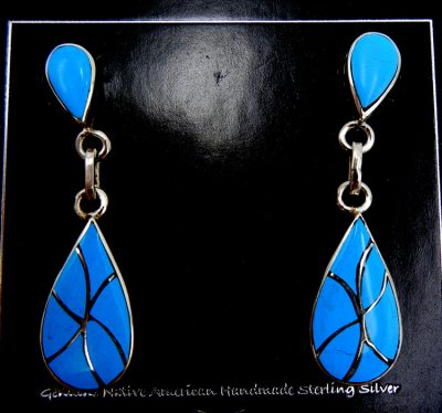 Zuni turquoise and sterling silver inlay dangle earrings by Orlinda Natewa