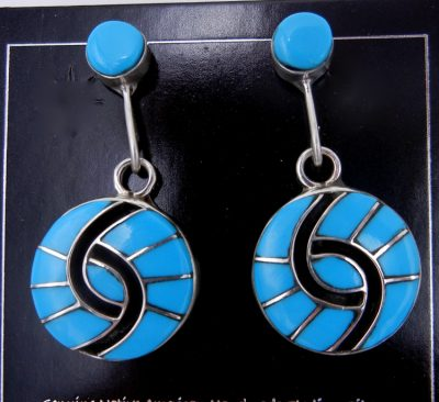 Zuni turquoise and sterling silver inlay hummingbird pattern earrings by Amy Quandelacy