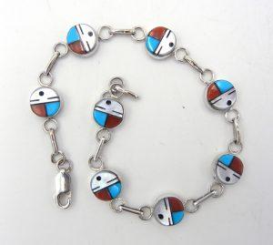 Zuni multi-stone inlay and sterling silver sunface link bracelet