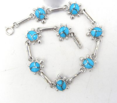 Zuni sleeping beauty turquoise and sterling silver turtle link bracelet