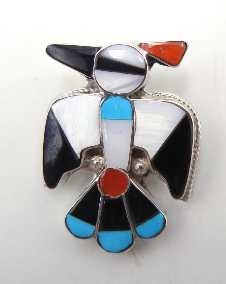 Zuni small multi-stone inlay and sterling silver thunderbird pin/pendant
