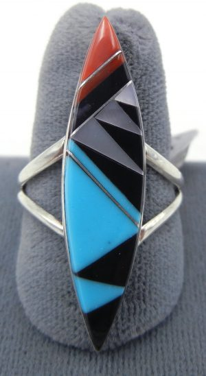 Zuni multi-stone inlay and sterling silver ring