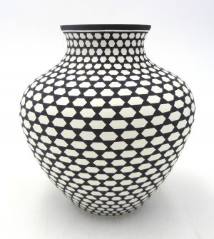 Acoma black and white handmade and hand painted small jar by Paula Estevan