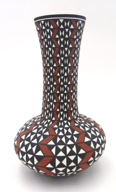 Acoma handmade and hand painted geometric pattern polychrome vase by Paula Estevan